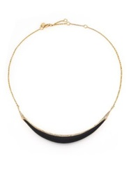 Alexis Bittar Sport Deco Lucite And Crystal Liquid Crescent Necklace Black Gold Black
