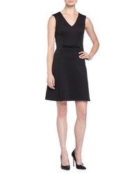 Andrew Marc New York V Neck Sleeveless Stretch Jersey Fit And Flare Dress W Embellished Waist Black