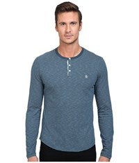 Original Penguin Feeder Stripe Henley Reflecting Pond Men's Long Sleeve Pullover Navy