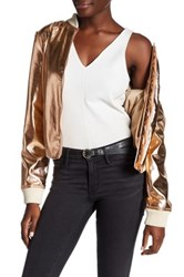 Bagatelle Faux Leather Metallic Bomber Jacket