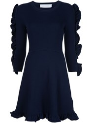 Victoria Beckham Frill Trim Long Sleeve Dress Blue