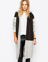 Whistles Hooded Coat With Boucle Greymarl