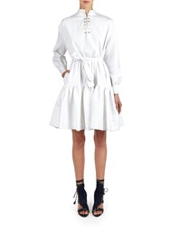 Alexis Mabille White Flounced Dress With Belt