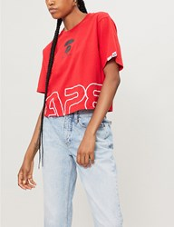 Aape By A Bathing Ape Logo Print Cotton Jersey T Shirt Red