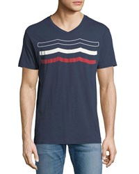 Sol Angeles Americana Waves Graphic T Shirt Blue