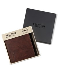 Kenneth Cole Reaction Men's Crunch Hipster Leather Rfid Wallet Brown