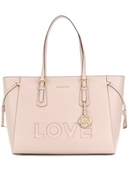 Michael Kors Collection Voyager Love Large Tote Pink And Purple