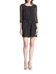 Armani Collezioni Sequined Polka Dot Silk Short Jumpsuit Black White