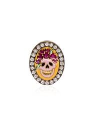 Holly Dyment Skull Diamond And Ruby Pendant Multicoloured