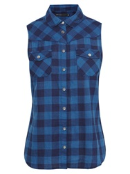 Karen Millen Sleeveless Checked Shirt Blue Multi