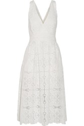 Maje Rimani Crochet Knit Midi Dress White