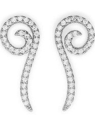 Cz By Kenneth Jay Lane Round Cubic Zirconia Pave Swirl Crawler Earrings Silver