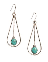 Lucky Brand Silvertone Metal And Turquoise Stone Drop Earrings Turquoise Silver