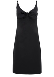 Hallhuber Cotton Satin Spaghetti Strap Dress With Bow Featu Black