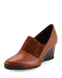 Sesto Meucci Daelyn Leather Suede Wedge Pump Cognac