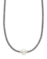 Lagos 18K Gold And Sterling Silver Luna Rope Necklace With Cultured Freshwater Pearl 16 White Multi
