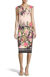 Eci Floral Print Sheath Dress Ivory Pink