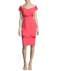 La Petite Robe Di Chiara Boni Tasha Off The Shoulder Floral Embroidered Sheath Dress Size 4 Fard