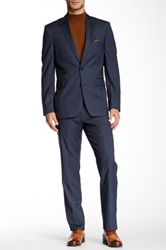 Vince Camuto Medium Blue Textured Stripe Two Button Notch Lapel Wool Suit