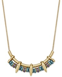 Inc International Concepts Gold Tone Beaded Linear Bib Necklace Only At Macy's