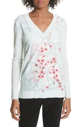 Ted Baker London Soft Blossom Burnout Front Sweater Mint