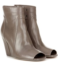 Rick Owens Leather Ankle Boots Grey