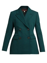 Alexachung Double Breasted Cotton Twill Blazer Dark Green