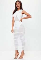 Missguided White Sleeveless Mesh Wrap Ruched Maxi Dress