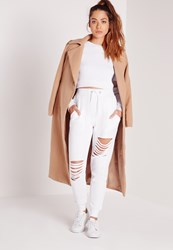 Missguided Ripped Front Joggers White White