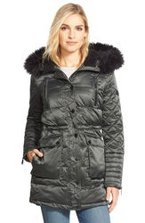 Bcbgeneration Quilted Satin Parka With Removable Faux Fur Trim Evergreen