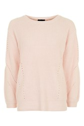 Topshop Open Back Ribbed Blouson Knitted Jumper Pale Pink