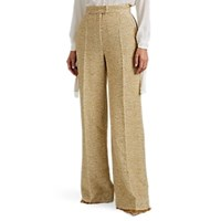 Martin Grant Metallic Wool Blend Tweed Wide Leg Trousers Gold