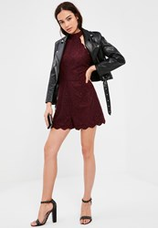 Missguided Burgundy Scallop Lace High Neck Playsuit