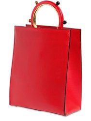 Marni Pannier Leather Tote Red
