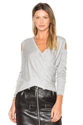 Derek Lam Cross Front Cut Out Shoulder Sweater Gray