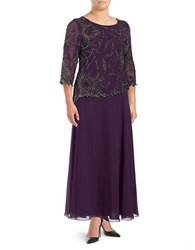 J Kara Plus Boatneck Overlay Dress Plum