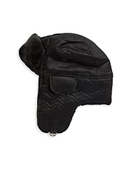 Saks Fifth Avenue Faux Fur Trapper Hat Black