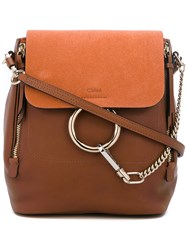 Chloe Backpack Women Cotton Calf Leather Calf Suede One Size Brown