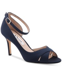 Nina Flo Ankle Strap Evening Sandals Women's Shoes New Navy