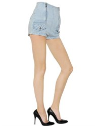 Balmain High Waisted Stretch Cotton Denim Shorts
