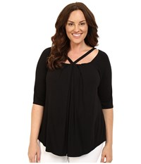 Kiyonna Destination Daydream Top Black Noir Women's Blouse