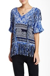 Gypsy05 Printed Voile Fringe Top Blue