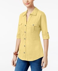 Styleandco. Style Co Utility Shirt Available In Regular Petite Sizes Created For Macy's Yellow Breeze