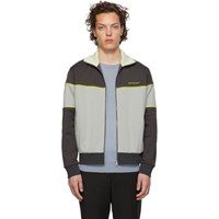 Givenchy Grey And Yellow Zip Up Sweater