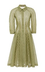Zac Posen Oval Eyelette A Line Shirt Dress Green