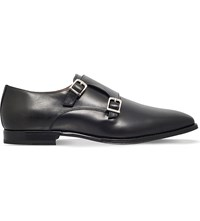 Corneliani Double Buckle Leather Monk Shoes Black