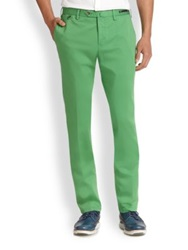 Pt01 Pantaloni Torino Flat Front Linen And Cotton Trousers Green Teal Beige