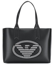 Emporio Armani Studded Logo Shopper Tote Black