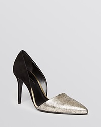 Aerin Pointed Toe D'orsay Pumps Faden High Heel Black Gold