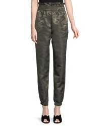 Kendall Kylie High Waist Camo Paper Bag Pants Green